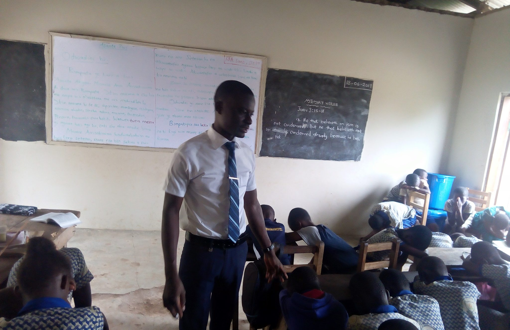 Prince Oppong with some of his students